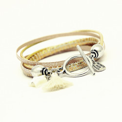 BRACELET CUIR DOUBLE TOUR OR GOLD LAUREN