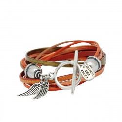 Bracelet cuir orange double tour Lauren