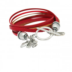 Bracelet cuir rouge double tour Lauren