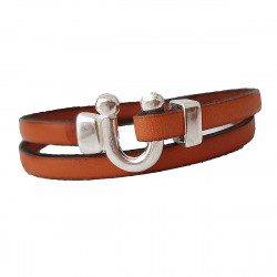 Bracelet cuir double tour orange Cherokee