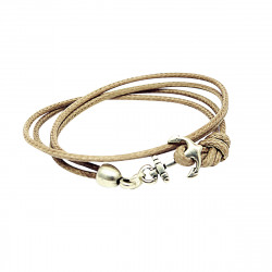 BRACELET DOUBLE TOUR ANCRE MARINE MARRON